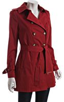 MICHAEL Michael Kors Cranberry Cotton-poly Double Breasted Short Trench - Lyst