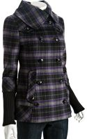 Soia & Kyo Purple Wool Plaid Heidi Double Breasted Coat - Lyst