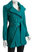 Via Spiga Turquoise Double-breasted Scarpa Belted Trench Coat - Lyst