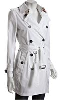 Burberry Brit White Woven Double Breasted Belted Trench Coat - Lyst