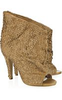 Maison Martin Margiela Leather-sequined Open-toe Ankle Boots - Lyst