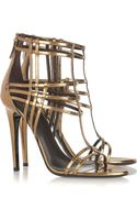 Roberto Cavalli Patent-leather Cage Sandals - Lyst