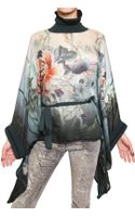 Roberto Cavalli Flower Silk Chiffon Top - Lyst