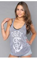 Obey The Snake and Anchor Tank in Navy - Lyst