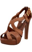 Miu Miu Napa Washed Peep-toe Platform Sandal - Lyst