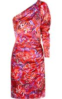 Emanuel Ungaro Floral-print Hammered Silk-satin Dress - Lyst
