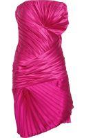 Emanuel Ungaro Pleated Hammered Silk-satin Dress - Lyst