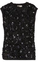Lanvin Sequined Tulle and Jersey Top - Lyst