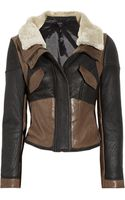 Tibi Leather-paneled Shearling Biker Jacket - Lyst
