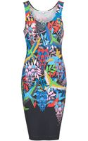 Jonathan Saunders Fitted Bird Print Tank Dress - Lyst