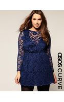 ASOS Collection Asos Curve Lace Long Sleeve Full Skirt Dress - Lyst