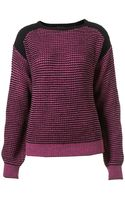 Topshop Knitted Contrast Stitc Jumper - Lyst