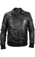 Forzieri Mens Black Leather Motorcycle Jacket - Lyst