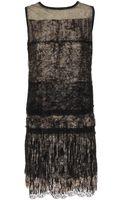 Bottega Veneta Fringed Silk Dress with Tiered Lace - Lyst