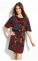 Kenneth Cole Floral Print Cowl Neck Dress - Lyst