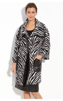 Lafayette 148 New York Leather Trim Zebra Pattern Coat - Lyst