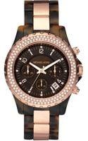 Michael Kors Round Tortoise Glitz Watch - Lyst