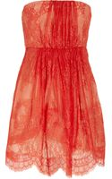 Tibi Strapless Lace and Silk Dress - Lyst