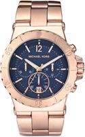 Michael Kors Chronograph Watch, Rose Gold/navy - Lyst