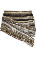 Balmain Crystal-embellished Metallic Silk Mini Skirt - Lyst