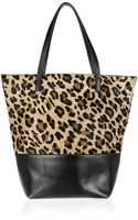 Maje Ketchup Leopard-print Calf Hair and Leather Tote - Lyst