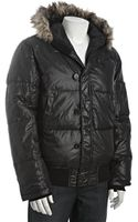 French Connection Black Down Filled Faux Fur Trim Hooded Bomber Jacket - Lyst