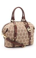 Michael Kors Medium Bedford Monogram Satchel, Beige/mocha - Lyst