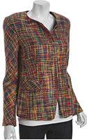 Lafayette 148 New York Red Multicolor Wool Blend Marlan Jacket - Lyst