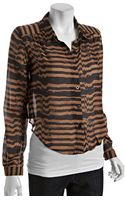 Dv By Dolce Vita  Striped Anderson Button Front Cropped Blouse - Lyst