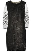 3.1 Phillip Lim Mesh-Sleeved Leather Paillette Dress - Lyst
