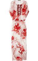 Roberto Cavalli Shell-Print Silk-Chiffon Kaftan - Lyst