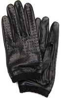 Mango Holey Leather Gloves - Lyst