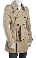Burberry London Honey Cotton Britton Shearling Collar Trench - Lyst
