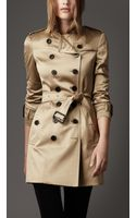 Burberry Cotton Sateen Trench Coat - Lyst