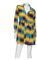 Thakoon Addition Gathered Waist Ikat Print Shirt Dress - Lyst
