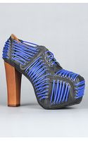 Jeffrey Campbell The Lita Laced Shoe in Black with Neon Blue Laces - Lyst