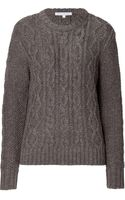 Paul & Joe Sister Brown Cable Knit Crew Neck Pullover - Lyst