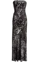 Donna Karan New York Black And Silver Strapless Sequin Gown - Lyst