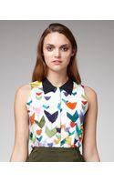 Jil Sander Navy Printed Collared Silk Blouse - Lyst
