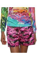 Mary Katrantzou Floral Print Silk Shorts - Lyst