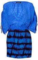Roberto Cavalli Peacock Blue Silk Dress - Lyst