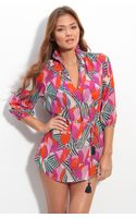 Tory Burch Print Silk Cover-up Tunic - Lyst