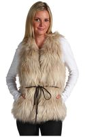 Juicy Couture Polar Vest W/ Leather Belt (faux Fur) - Lyst