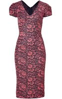 L'Wren Scott Coral and Black Flower Lace Dress - Lyst