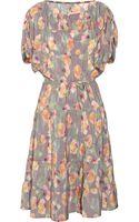 Tucker Floral-Print Silk Dress - Lyst