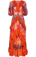Roberto Cavalli Printed Silk-chiffon Kaftan Gown - Lyst