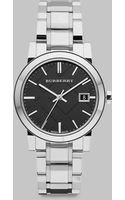 Burberry Black Checked Stamped Stainless Steel Watch - Lyst