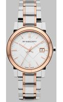Burberry Check Stamped Stainless Steel Watchtwotone - Lyst