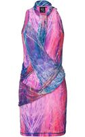 McQ by Alexander McQueen Electric Blue Semisheer Printed Drape Dress - Lyst