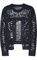 Theyskens' Theory Crochetknit Linenblend Sweater - Lyst